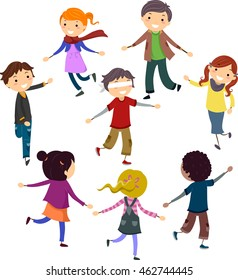Stickman Illustration of Children Playing a Blindfolded Game of Tag
