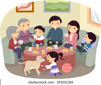 Stickman Illustration of a Complete Family Gathering