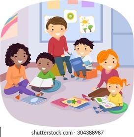 Stickman Illustration of Families Reading Books to Their Kids
