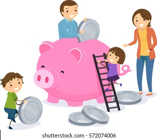 Stickman Illustration of a Family Dropping Giant Coins Into a Giant Piggy Bank Together