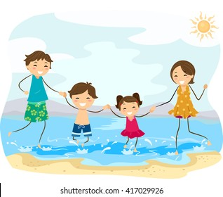 Parents At The Beach Stock Vectors Images Vector Art Shutterstock