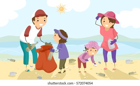 Stickman Illustration of a Family Picking Litter Off the Beach During a Coastal Cleanup