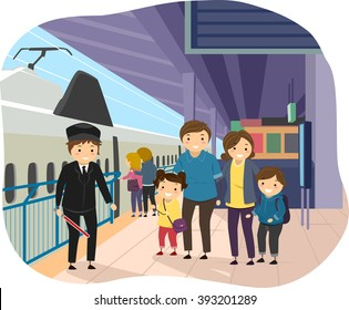 Stickman Illustration of a Family at a Train Station