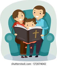 Stickman Illustration of a Father and Mother Reading a Bible Story to Their Daughter