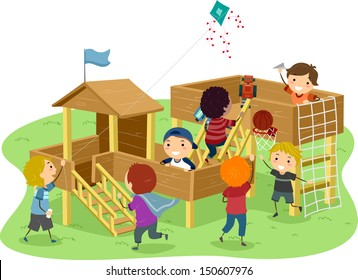 Stickman Illustration Featuring Boys Playing in a Wooden Playhouse
