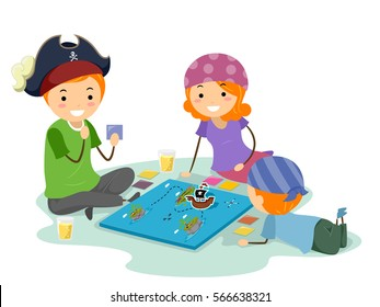 Stickman Illustration Featuring a Family Dressed as Pirates Playing a Board Game