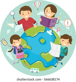 Stickman Illustration Featuring a Family Standing Around a Globe Holding Travel Related Items