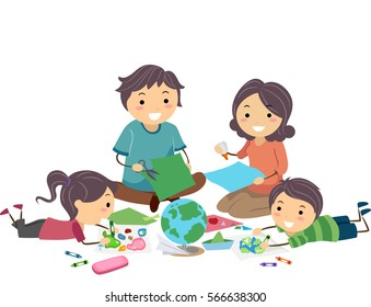 Stickman Illustration Featuring a Family Working on a Geography Project Together
