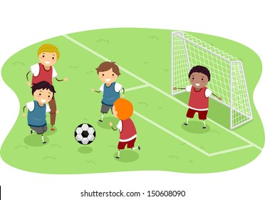 Stickman Illustration Featuring a Group of Boys Playing Soccer