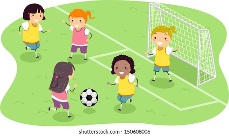 Stickman Illustration Featuring a Group of Girls Playing Soccer