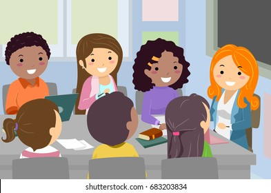 Stickman Illustration Featuring a Group of Teenage Student Council Members Having a Meeting