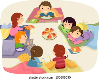 Stickman Illustration Featuring Kids Chatting While Eating at a Sleepover