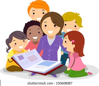 Stickman Illustration Featuring Kids Huddled Together While Listening to the Teacher Reading a Storybook
