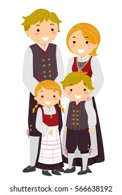 Stickman Illustration Featuring a Norwegian Family Wearing Traditional Clothes