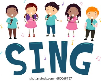 Stickman Illustration Featuring Preschool Kids Standing on Top of the Word Sing
