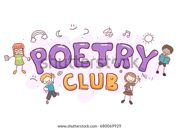 Stickman Illustration Featuring Words Poetry Club Stock