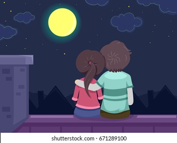 Stickman Illustration Featuring a Young Couple Spending a Romantic Night on the Roof Gazing at the Moon