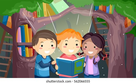 Stickman Illustration of a Group of Kids Reading a Book in a Mystical Forest