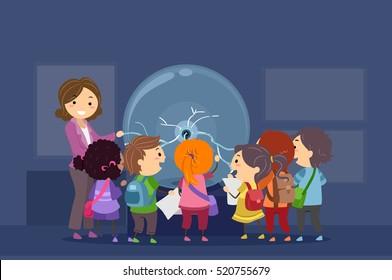 Stickman Illustration of a Group of Preschool Kids Observing a Plasma Ball During a Field Trip