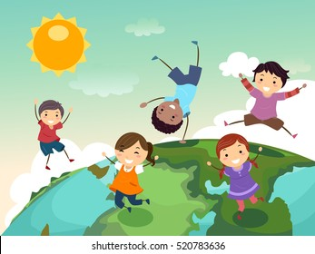 Stickman Illustration of a Group of Preschool Kids Playing on Top of a Globe