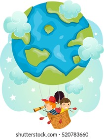 Stickman Illustration of a Group of Preschool Kids Traveling in a Hot Air Balloon Shaped Like a Globe
