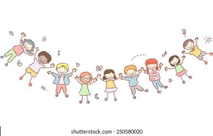 Stickman Illustration of Kids Forming a Human Banner