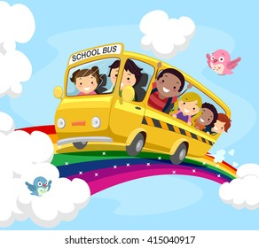 Stickman Illustration of Kids on a School Bus Riding Over the Rainbow