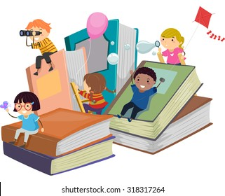 Stickman Illustration of Kids Playing Near Giant Books
