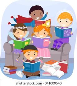 Stickman Illustration of Kids Reading Fantasy Books