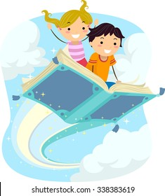 Stickman Illustration of Kids Riding a Magical Flying Book