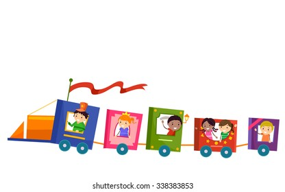 Stickman Illustration of Kids Riding a Train Made from Books