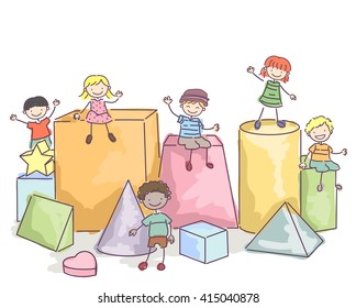 Stickman Illustration of Kids Sitting on Giant Blocks