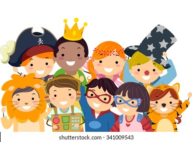 Stickman Illustration of Kids in Wacky Costumes Taking a Group Photo