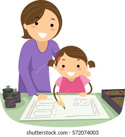 Stickman Illustration of a Mother Teaching Her Daughter How to Draw a Garden