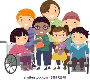 Stickman Illustration of a Nurse Taking Care of Handicapped Kids