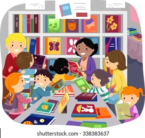 Stickman Illustration of Parents Helping Their Kids Choose Books in a Bookstore