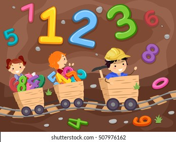 Stickman Illustration of Preschool Kids Riding Wooden Trams in an Underground Mine Surrounded by Numbers