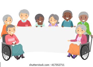 Stickman Illustration of Senior Citizens Holding a Banner