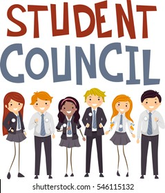 Stickman Illustration of Teenagers in Preppy Uniforms Campaigning to Become Members of the Student Council