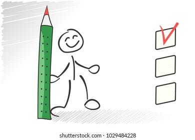 Stickman questionaire checkbox. Choice concept. Vector survey illustration