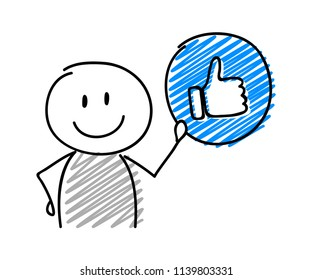 Stickman with smiley facial expression holiding thumb (social media) icon. Vector.