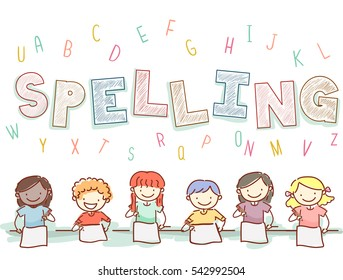 Stickman and Typography Illustration Featuring Kids Preparing for a Spelling Test
