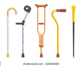 Sticks and crutches isolated on white background. Flat design. Vector illustration