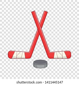 Sticks and puck icon. Cartoon illustration of sticks and puck vector icon for web