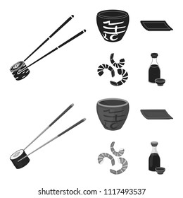Sticks, shrimp, substrate, bowl.Sushi set collection icons in black,monochrome style vector symbol stock illustration web.