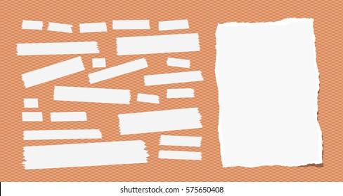 Sticky, adhesive masking tape, ripped note paper stuck on squared orange background