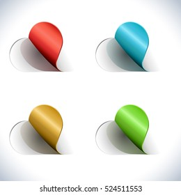 Sticky color tags set with shadow isolated on white background. Vector illustration.
