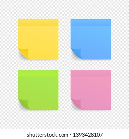 Sticky colored notes. Post note paper. Vector illustration.