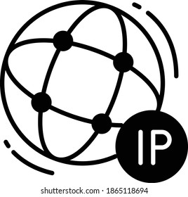 Sticky dynamic IP Vector Glyph Icon Design, Cloud computing and Web hosting services Symbol on White background, Internet Protocol address Concept,