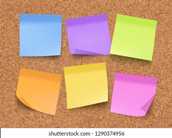 Sticky empty notes. Corkwood board on wall with memo colored papers with pin and clips vector realistic template